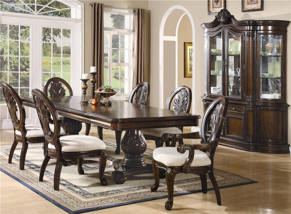 Shown with Arm Chairs, Double Pedestal Table, China Cabinet