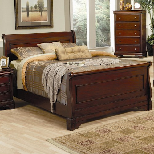 Coaster Versailles King Sleigh Bed with Deep Mahogany Stain