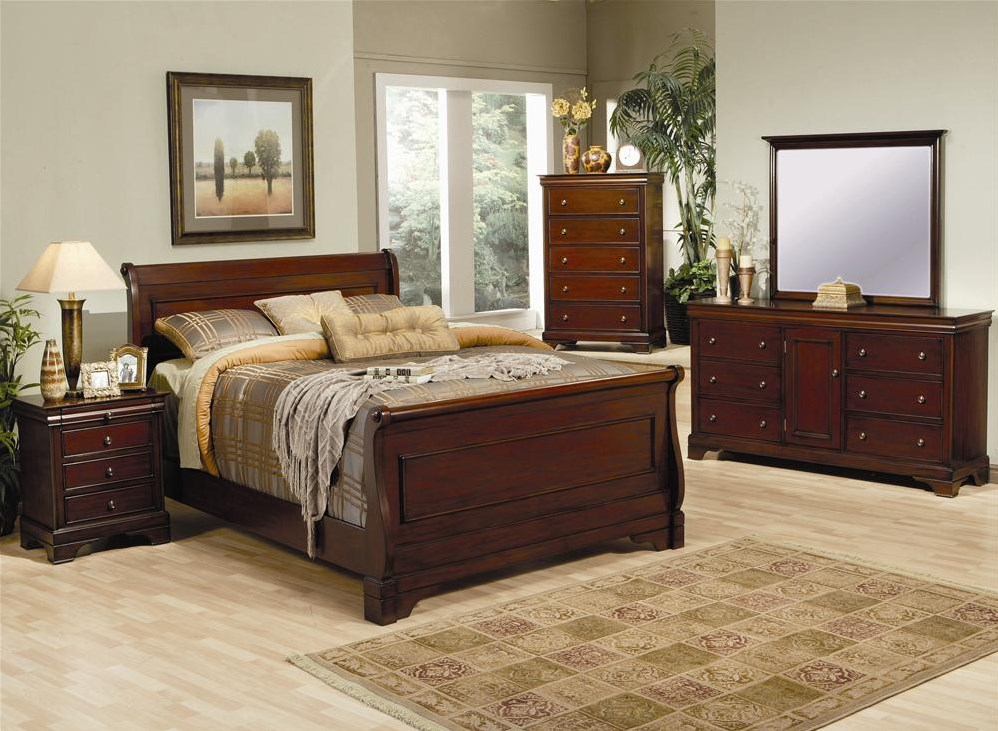 Shown in Room Setting with Nightstand, Bed, Dresser, and Mirror