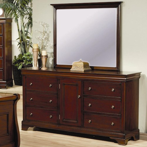 Coaster Versailles 6 Drawer Dresser with Door and Vertical Mirror