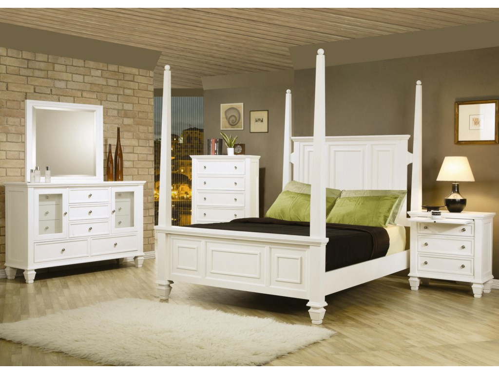 Shown in Room Setting with Mirror, 5 Drawer Chest, Queen Bed, and 3 Drawer Nightstand