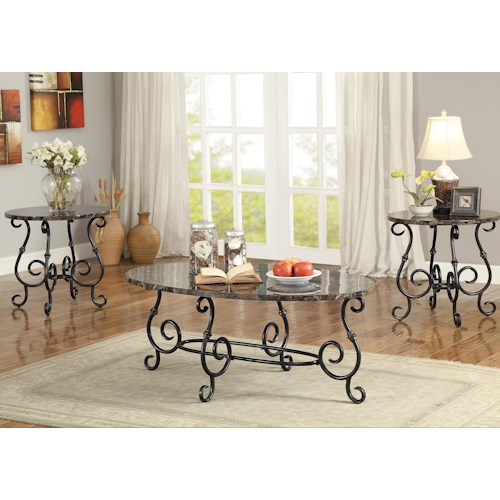 Coaster Occasional Table Sets 3 Piece Accent Table Set with Faux Marble Tops