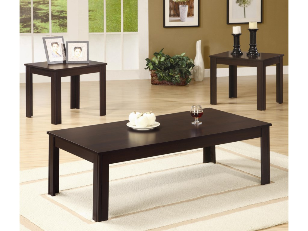 3 Piece Table Set Shown in Dark Walnut Finish