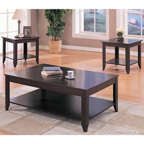 Coaster Occasional Table Sets Contemporary 3 Piece Occasional Table Set with Shelves