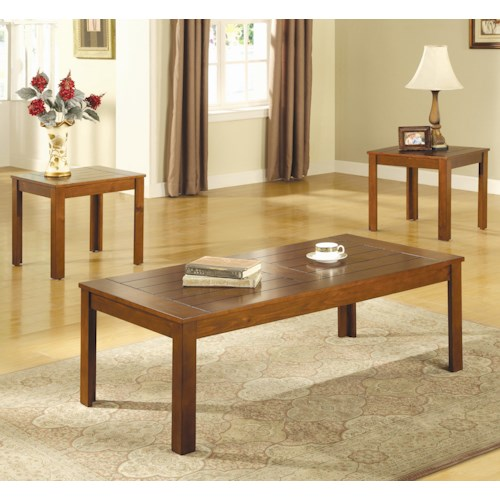 Coaster Occasional Table Sets Casual 3 Piece Occasional Table Set with Pine Veneers