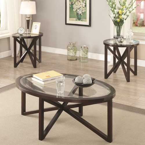 Coaster Occasional Table Sets 3 Piece Accent Table Set with Tempered Glass Top