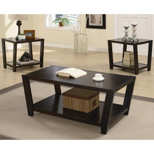Coaster Occasional Table Sets Contemporary 3 Piece Occasional Table Set