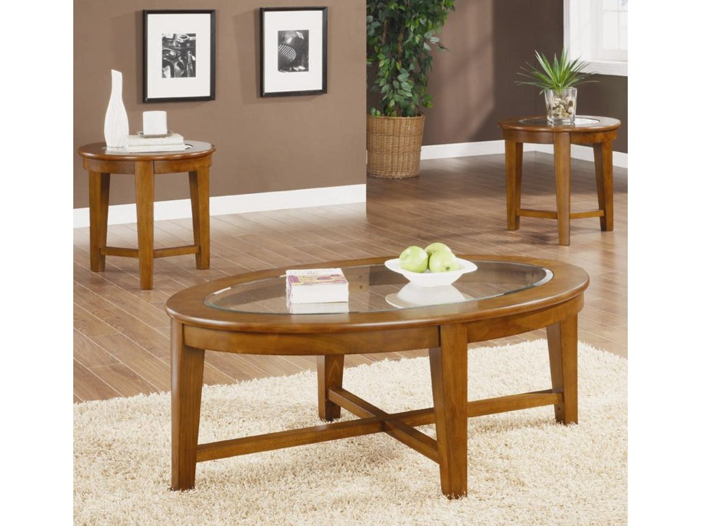 3 Piece Table Set Shown in Warm Light Brown Finish