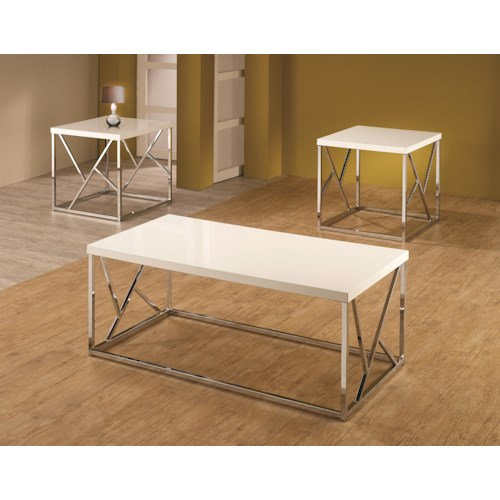 Coaster Occasional Table Sets Set of 3 High-Gloss Occasional Tables with White Tops & Decorative Chrome Bases