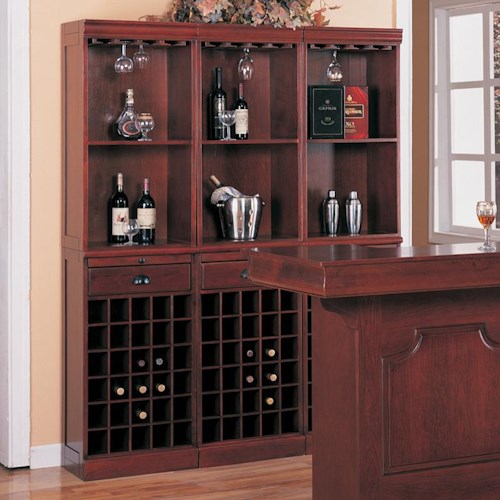 Coaster Lambert Traditional 3-Piece Wine Wall Bar Unit