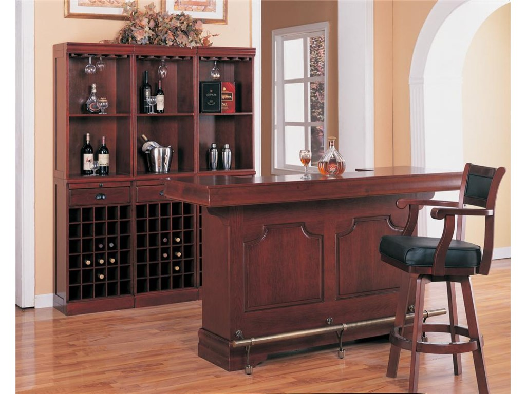3 Wall Units Shown with Bar Unit and Bar Stool
