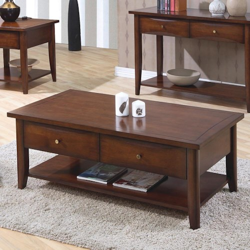 Coaster Whitehall Coffee Table w/ Shelf & Drawers