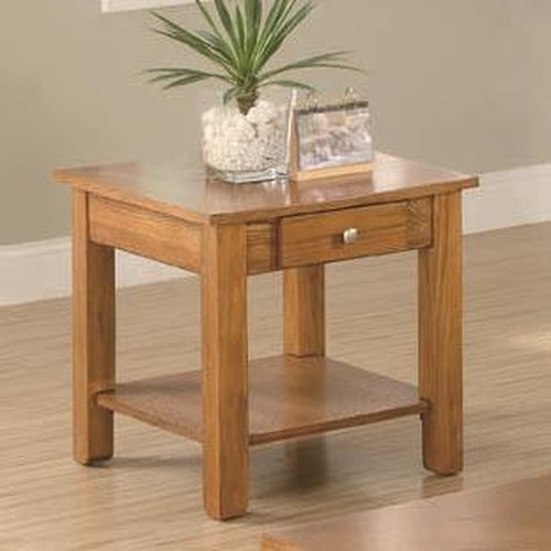 Coaster Occasional Group End Table with Drawer and Base Shelf