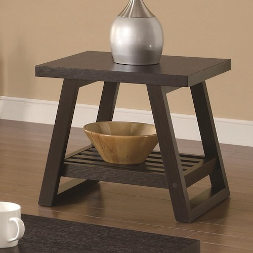 Coaster Occasional Group Casual End Table with Slatted Bottom Shelf