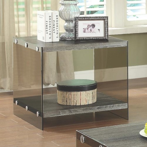 Coaster 70196 End Table w/ Glass Sides