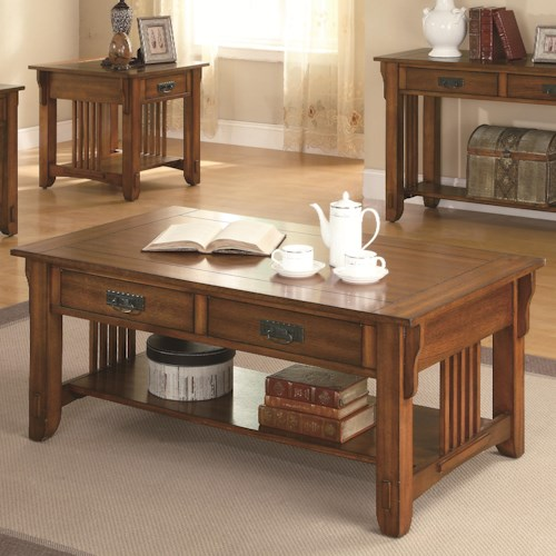 Coaster Occasional Group 2 Drawer Coffee Table with Shelf