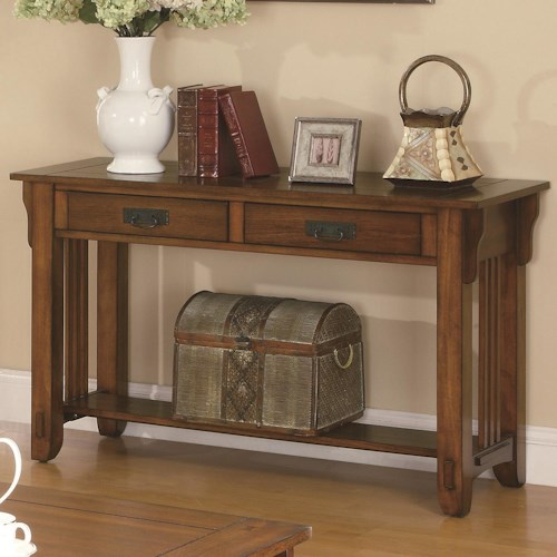 Coaster Occasional Group 2 Drawer Sofa Table with Shelf