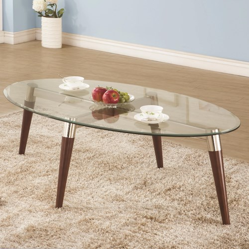 Coaster 702900 Oval Cocktail Table with Glass Top and Nickle and Oak-Finished Base