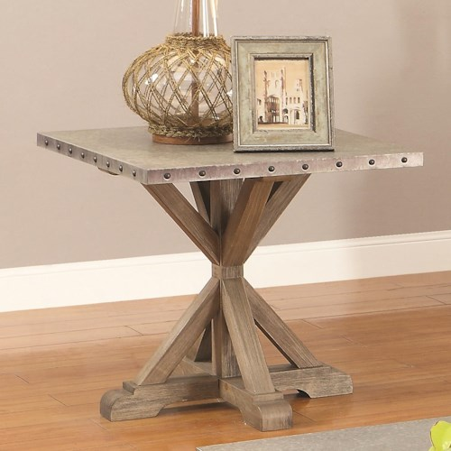 Coaster 70374 Rustic End Table w/ Nailhead Trim