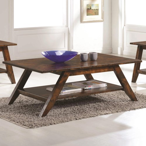 Coaster 70403 Mid Century Coffee Table with Rustic Finish