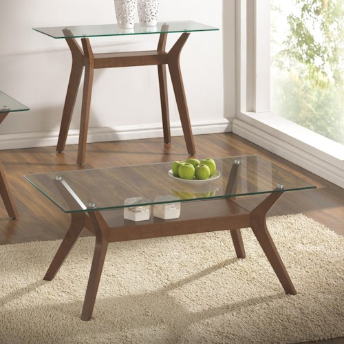 Coaster 70416 Coffee Table with Glass Top and 1 Shelf