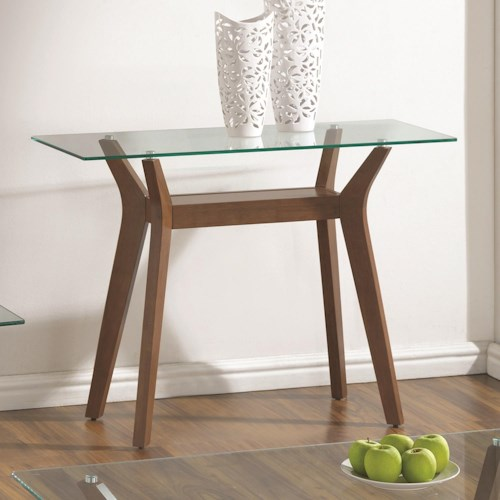 Coaster 70416 Sofa Table with 1 Shelf and Glass Top