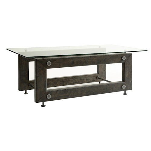 Coaster 70427 Industrial Coffee Table with Tempered Glass Top