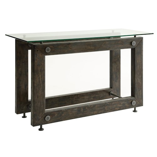 Coaster 70427 Industrial Sofa Table with Tempered Glass Top