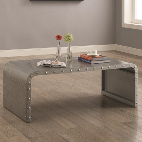 Coaster 70434 Metal Coffee Table with Nailhead Accents