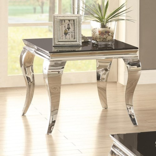 Coaster 705010 Glam End Table with Queen Anne Legs