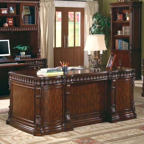Coaster Union Hill Double Pedestal Desk with Leather Insert Top