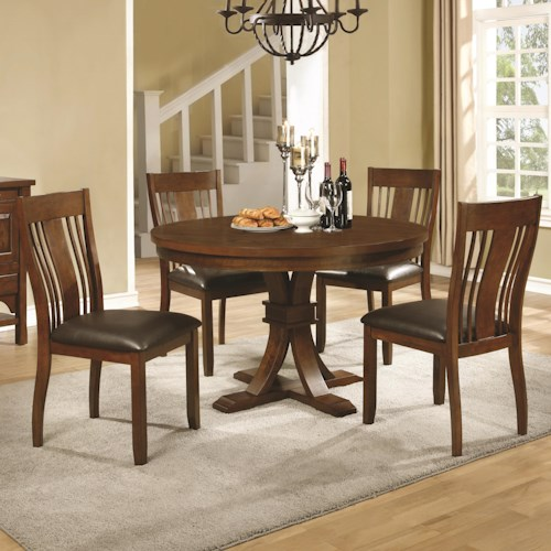 Coaster Abrams 5 Piece Round Table Set with Slat Back Side Chairs