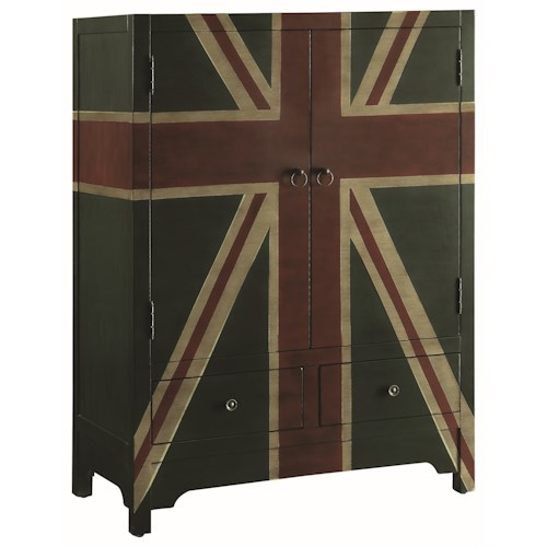 Coaster Accent Cabinets Accent Cabinet with British Flag Design