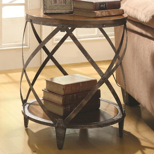 Coaster Accent Cabinets Contemporary Metal Accent Table with Drum Shape