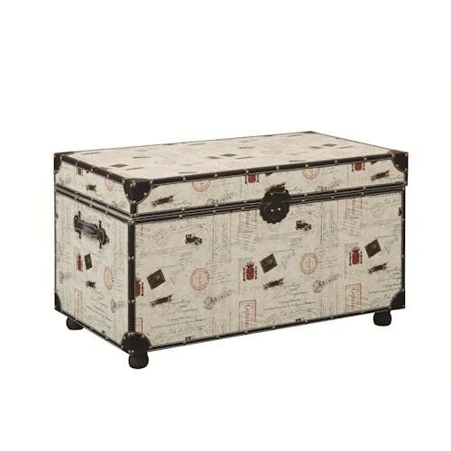 Coaster Accent Cabinets Postage Print Storage Trunk