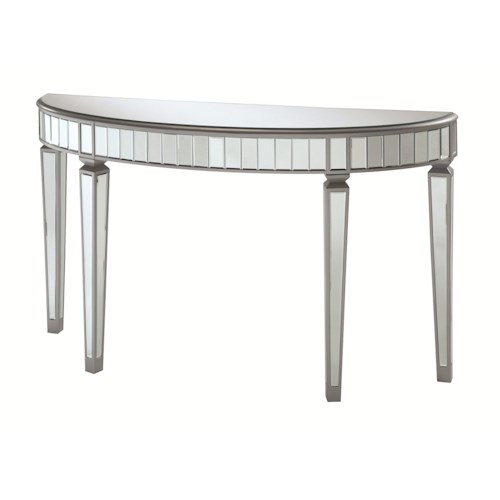 Coaster Accent Cabinets Half Oval Mirrored Console Table