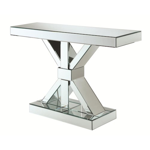 Coaster Accent Cabinets Thick Mirrored Console Table