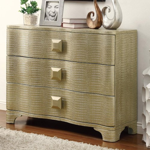 Coaster Accent Cabinets Shimmery Gold Cabinet with 3 Drawers