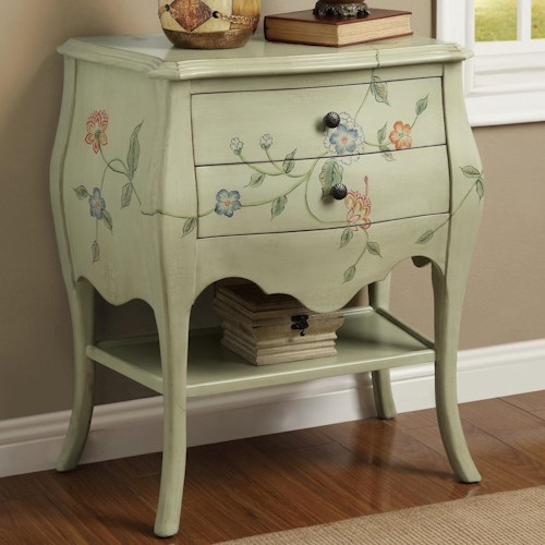 Coaster Accent Cabinets Antique Mint 2 Drawer Cabinet with Floral Hand Paintings