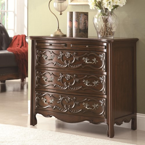 Coaster Accent Cabinets Traditional Accent Cabinet with Detailed Carvings and Pull-Out Trays
