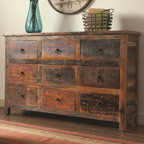 Coaster Accent Cabinets 9 Drawer Rustic Cabinet