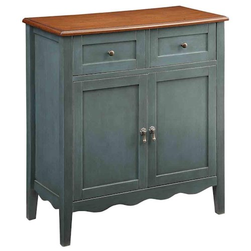 Coaster Accent Racks Wine Cabinet with 2 Drawers and Scalloped Apron