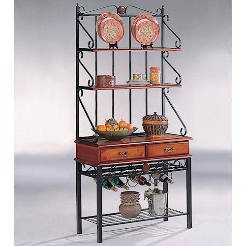 Coaster Accent Racks 3 Shelf Kitchen Cabinet with Wine Rack