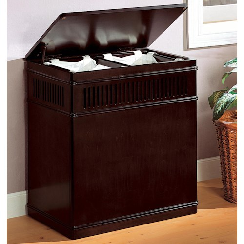 Coaster Accent Racks Cappuccino Wood Laundry Hamper with Removable Canvas Liner