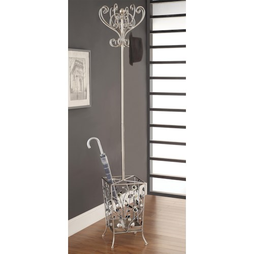 Coaster Accent Racks Transitional Antiqued Silver and Gold Tone Coat Rack