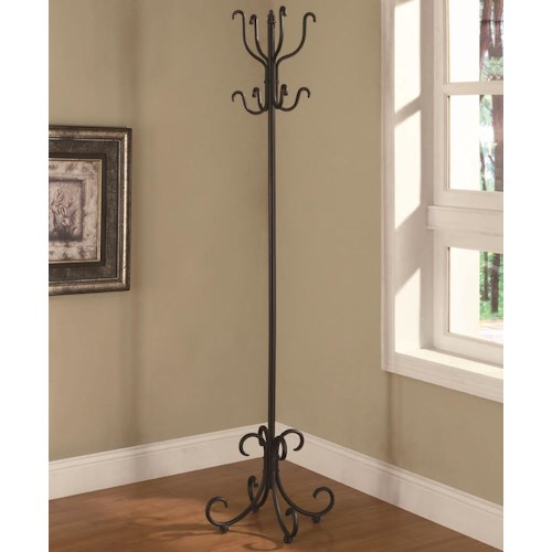 Coaster Accent Racks Black Metal Coat Rack with Curved Feet