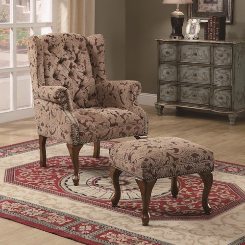 Coaster Accent Seating Traditional Tufted Wing Back Chair and Ottoman