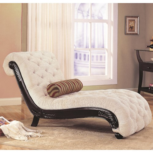Coaster Accent Seating Traditional Chaise with Button Tufting and Carved Wood Trim