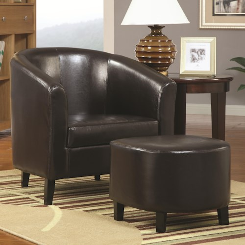 Coaster Accent Seating Accent Chair w/ Ottoman