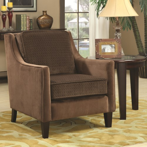 Coaster Accent Seating Accent Chair w/ Basket-Weave Microvelvet